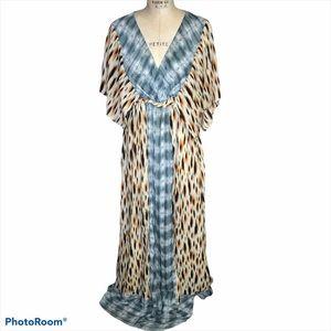 Kiyonna mixed print tan blue maxi dress